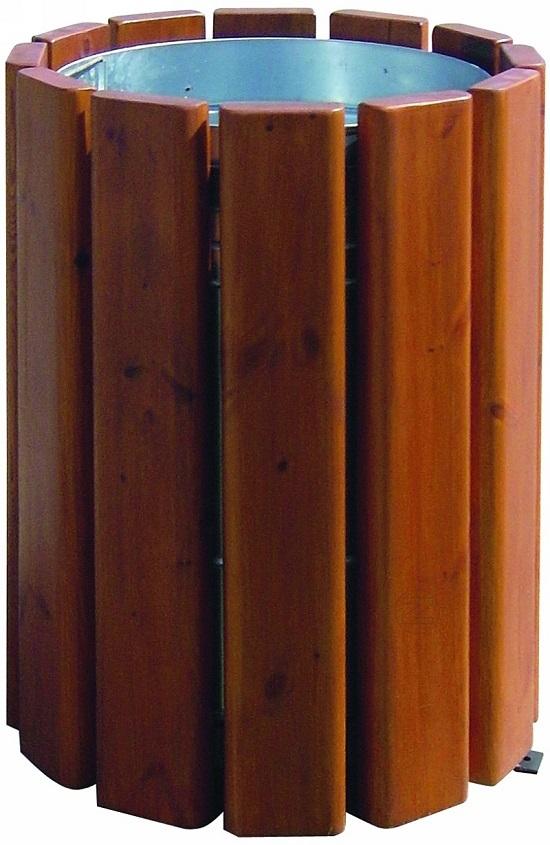 Kosz na śmieci SOWETO z drewnianym olistwowaniem