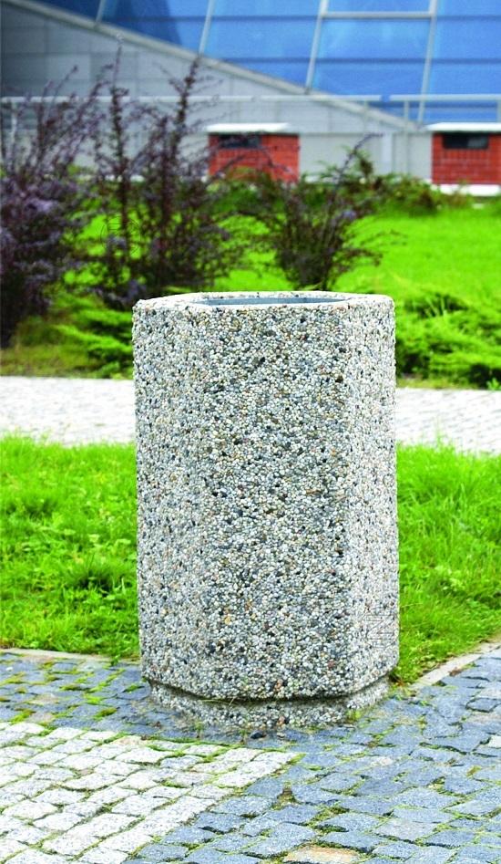 Kosz na śmieci SZEŚCIOKĄTNY z betonu