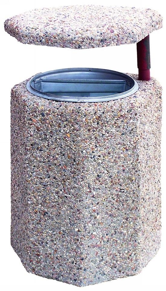 Kosz na śmieci OŚMIOKĄTNY z betonu