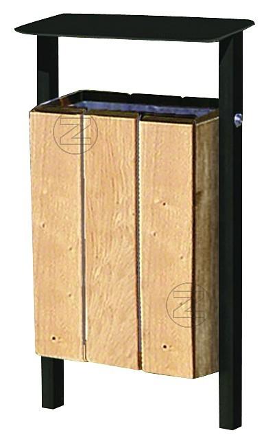 Kosz na śmieci SOLDA z drewnianym olistwowaniem