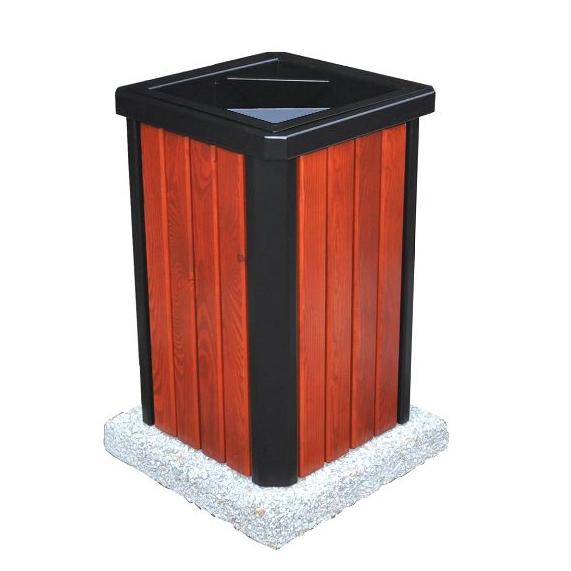 Kosz na śmieci SUFFOLK z drewnianym olistwowaniem