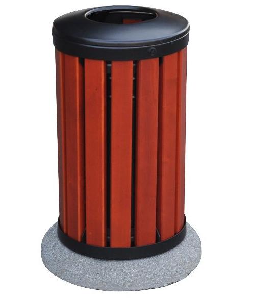 Kosz na śmieci OPOLE 2 z drewnianym olistwowaniem